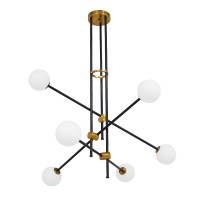 GloboStar® VELVET 00994 Μοντέρνο Industrial Φωτιστικό Οροφής Πολύφωτο Μαύρο Χρυσό Μεταλλικό Φ80 x Y85cm