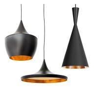 SET 3 Μοντέρνα Κρεμαστά Φωτιστικά Οροφής Μονόφωτα Μαύρα Μεταλλικά Καμπάνα GloboStar SHANGHAI BLACK 01025