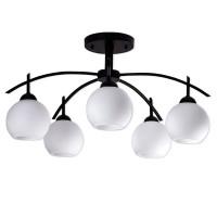 Μοντέρνο Φωτιστικό Οροφής Πολύφωτο Μαύρο Μεταλλικό με Λευκό Γυαλί Φ63 GloboStar LUNA 01088