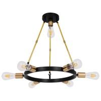 Μοντέρνο Φωτιστικό Οροφής Πολύφωτο Μαύρο Χρυσό Μεταλλικό Ø55xY55cm GloboStar SAILOR 01445